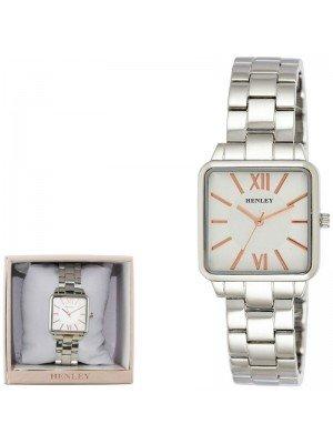 Wholesale Henley Ladies Classic Square Bracelet Watch - Silver