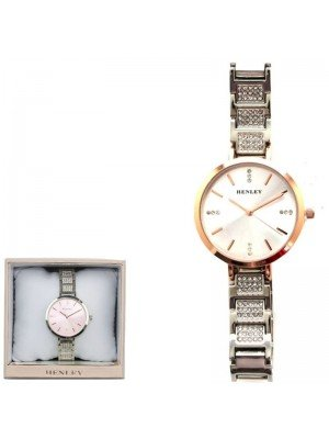 Wholesale Henley Ladies Crystal Bracelet Watch - Silver/Rose Gold