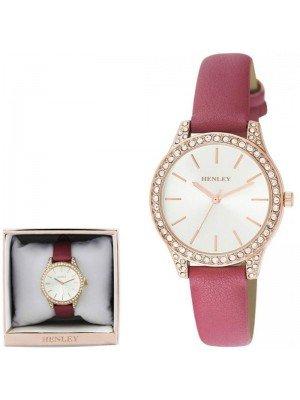 Wholesale Henley Ladies Diamante Faux Strap Watch - Mulberry Pink