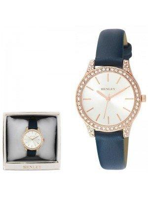 Wholesale Henley Ladies Diamante Faux Strap Watch - Ocean Blue