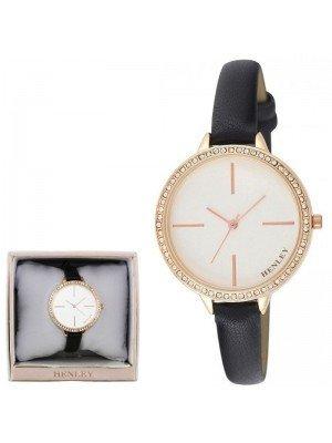 Wholesale Henley Ladies Diamante Feature Logo Faux Strap Watch - Black