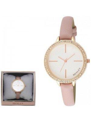Wholesale Henley Ladies Diamante Feature Logo Faux Strap Watch - Pink