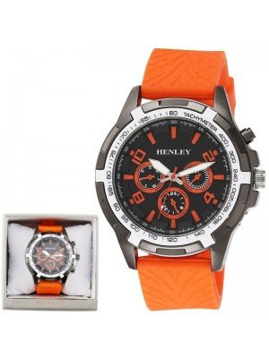Wholesale Mens Henley White Topped Sports Silicone Strap Watch - Orange