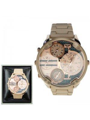 Wholesale Mens NY London 4 Dial Design Metal Bracelet Watch - Rose Gold