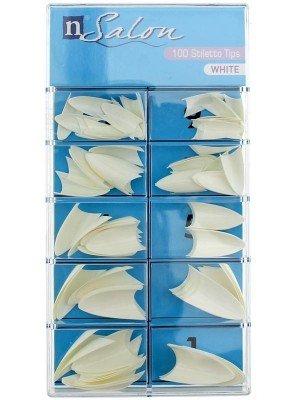 N Salon 100 Stiletto Nail Tips - White