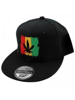 Wholesale Rasta Cannabis Leaf Snapback - Black