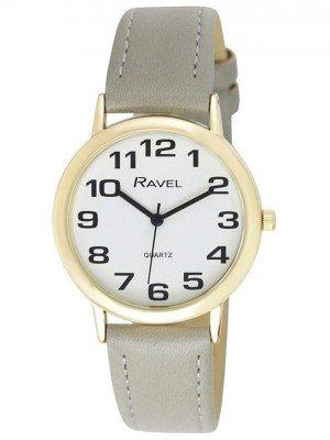 Ravel Men's Easy Read Gold Tone Watch - Grey Strap