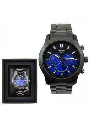 Wholesale Softech Mens 3 Time Display Watch - 2 Tones - Gun Blue