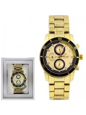 Wholesale Softech Mens 3 Time Display Design Metal Strap Watch - Gold
