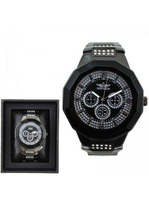 Wholesale Softech Mens 3 Time Display Watch - Gun Metal