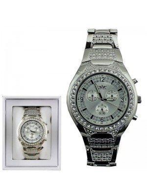 Wholesale Softech Mens 3 Dial Design Fashion Watch Metal Strap - Silver
