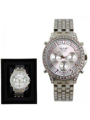 Wholesale Softech Mens Crystal 3 Dial Metal Bracelet Fashion Watch - Silver
