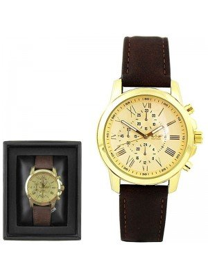 Wholesale Softech Mens 3 Dial Leather Strap Watch
