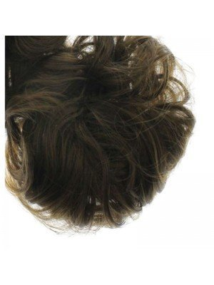 Wholesale Synthetic Hair Scrunchies - Dark Brown with light highlights