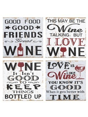 Wine Quotes Hanging Wall Plaque With Hanging Tag - Assorted
