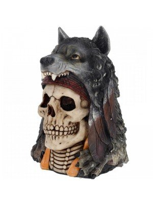 Wholesale Wolf Spirit Skull Figurine - 22.9cm