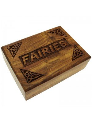 Wholesale Wooden Box with 'Fairies' and Corner Carvings