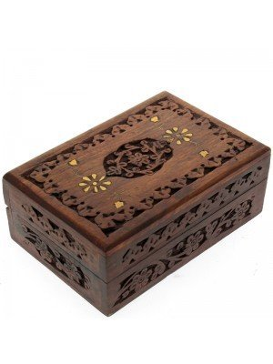 Wooden Box With Floral Carving & Brass Flower Inlay 15.5x10.5x6cm