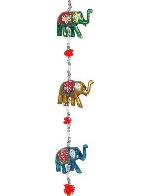 Wooden Hanging Elephant Decoration With Bell