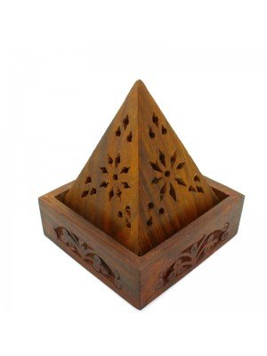 Wooden Incense Burner Box For Cones -Carved Flowers Pyramid Shape