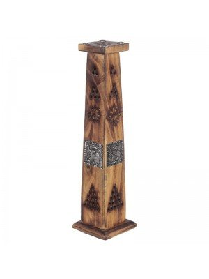Wholesale Wooden Incense Burner Tower with Elephant Inlay 12''