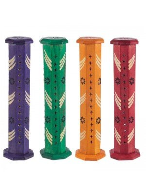 Wholesale Wooden Incense Burner Tower With Flower Fretwork - Assorted Colours 12''