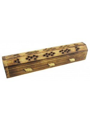 Wooden Incense Holder Box With Storage - Elephant Brass Inlay 12''