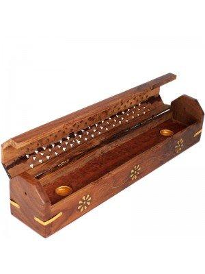 Wooden Incense Holder Box With Storage - Flower Brass Inlay 12''