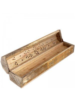 Wooden Incense Holder Box With Storage- Light Colour 12""