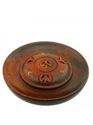 Wooden Incense Holder Plate - Carved Peace Design 5''