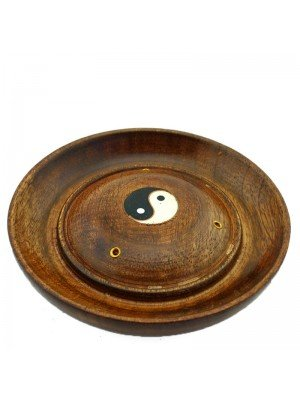 Wooden Incense Holder Plate - Yin Yang Design 5''