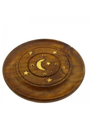 Wooden Incense Holder Plate -Moon & Stars Brass Inlay 4''