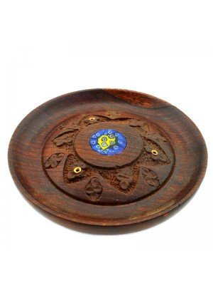 Wooden Incense Holder Plate With Murano Detail 4.75''