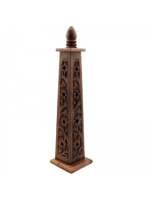Wooden Incense Tower- Carved Flowers Assorted Designs 13''