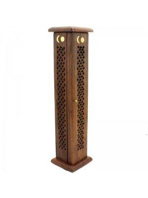 Wooden Incense Tower- Moon & Sun Brass Inlay 12''