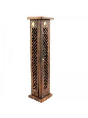 Wooden Incense Tower- Yin Yang Brass Inlay 12''