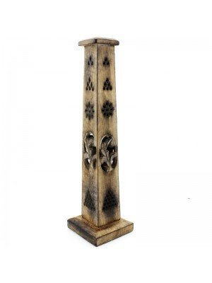 Wooden Incense Tower with Flower Cutwork 14''