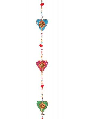 Wholesale Wooden Multicoloured Hanging Hearts With Bell