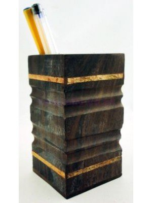 Square Wooden Pen Holder (Size Aprrox: 4''x2.5''x2.5'')