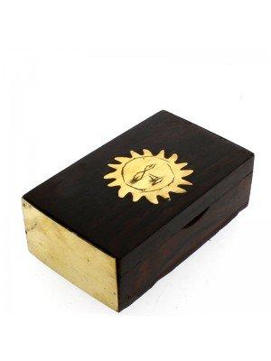 Wooden Pill Box  Brass Sun Design 6cm