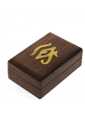 Wooden Pill Box Box Eye Of Horus 7.5x5x3.5cm