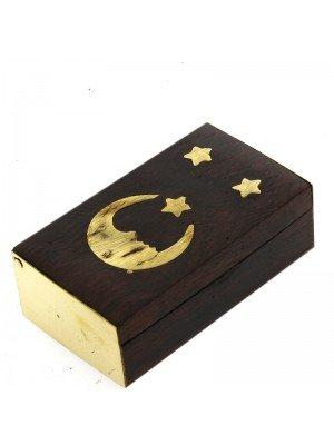 Wooden Pill Box Brass Moon/Star Design 6x3.5x2cm