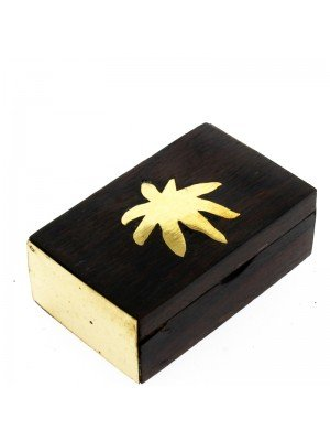 Wooden Pill Box Brass Leaf Design 6cm