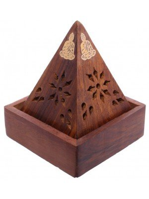 Wooden Pyramid Incense Cone Burner Box With Buddha