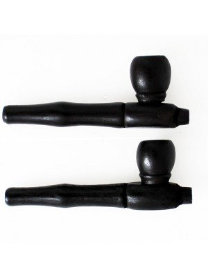 Wooden Tobacco Smoking Pipe-Black (Round Bowl) 10cm