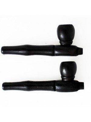 Wholesale Wooden Smoking Pipe-Black (Round Bowl) 10cm