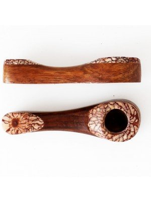 Wooden Tobacco Smoking Pipe Patterned 8cm