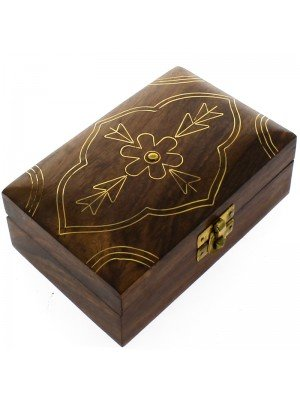 Wooden Trinket Box Flower Brass Inlay 15.5x10.5x4.5cm