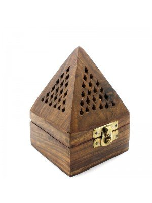 Wooden Incense Burner Box For Cones - Pyramid Shape