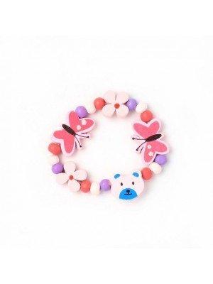 Wooden Bead Children's Bracelet With Teddy